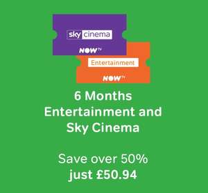 6 Months Movies and 6 Months Entertainment  £50.94 - Now TV (New customers)