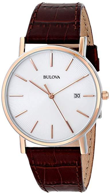 Bulova 98H51 Men's Rose Steel Brown Leather Strap Dress Watch, 30M WR, Calendar Function, £50.99 @ Argos ebay