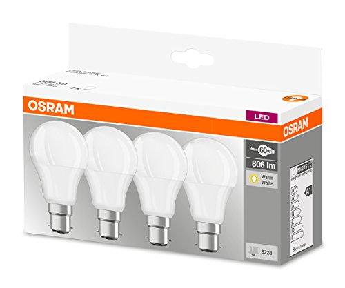 4 x Osram B22 (bayonet) 9W LED Bulbs - 60w equivalent - £5.14 Prime / £9.63 non-Prime @ Amazon UK