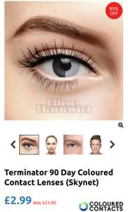 Halloween contact lenses reduced to £2.99 various styles p&p is £2.99 @ Blue Banana