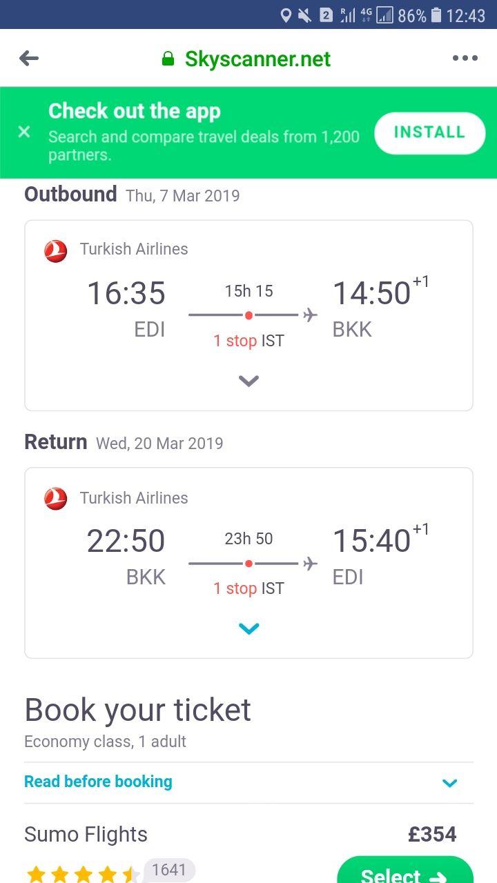 Edinburgh, Scotland to Bangkok, Thailand for only £353 roundtrip On Turkish airways