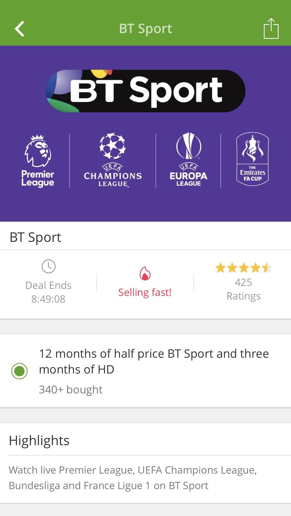 12 months half price BT Sport Groupon voucher - £12.99 per month for the first twelve months - £20 activation fee