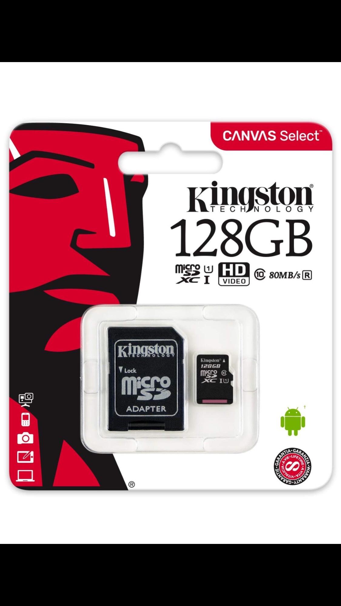 Kingston SDCS/128GB SDCS 128 GB microSD Canvas Class10 UHS-I Memory Card £20.35 @ Amazon