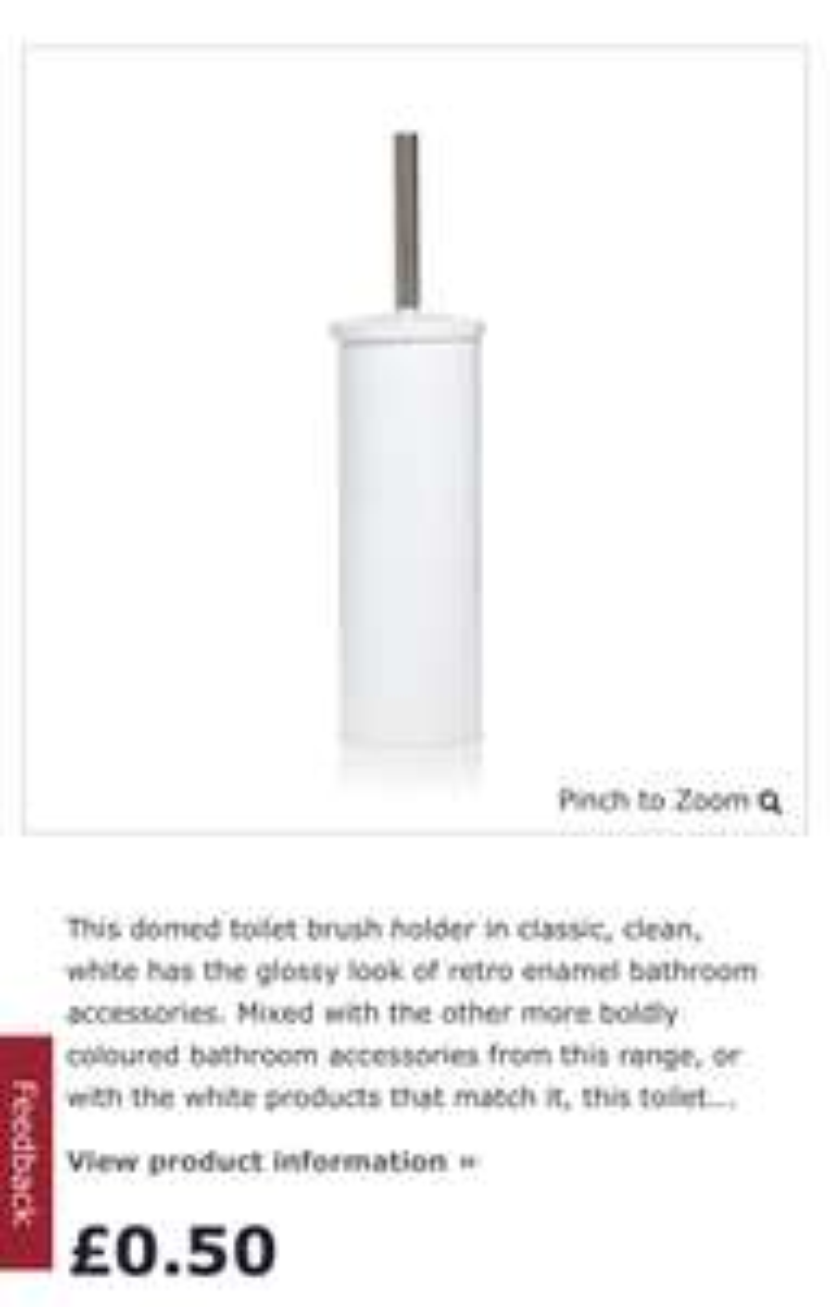White dome toilet brush - 50p instore @ Wilko