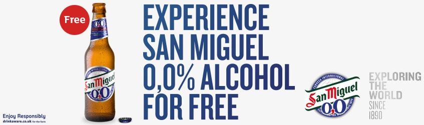 Free San Miguel 0% 4x330ml at Sainsbury's online