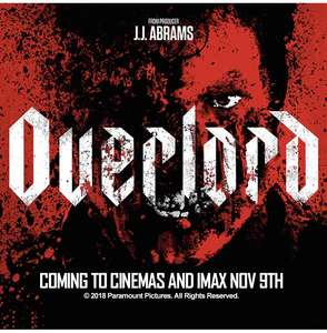 Watch paramount pictures Overlord before release in Odeon Cinemas with 3 others @ O2 Priority