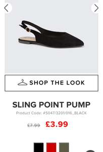 Sling point pumps £3.99 at select online free delivery code if spending over £20 or pay £1.99 to collect in store
