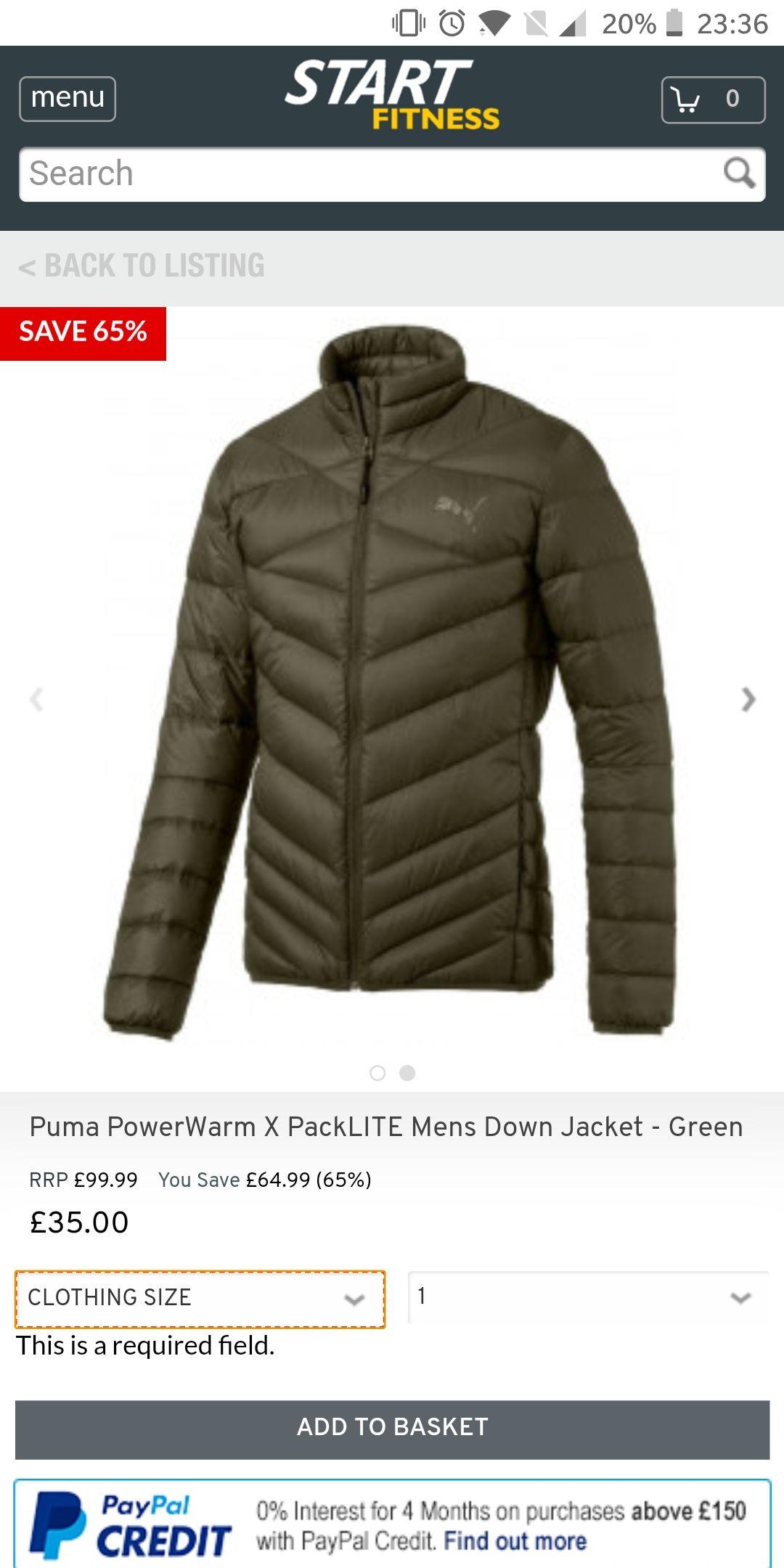 Puma PowerWarm X PackLITE Mens Down Jacket £35 + £4.95 delivery @ Start Fitness