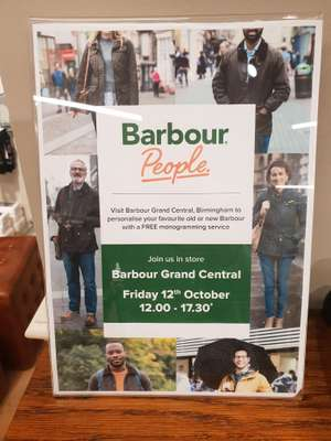 Free Barbour Jacket Personalisation Monogram Event at Outdoor and Country - Friday 12th October at Birmingham