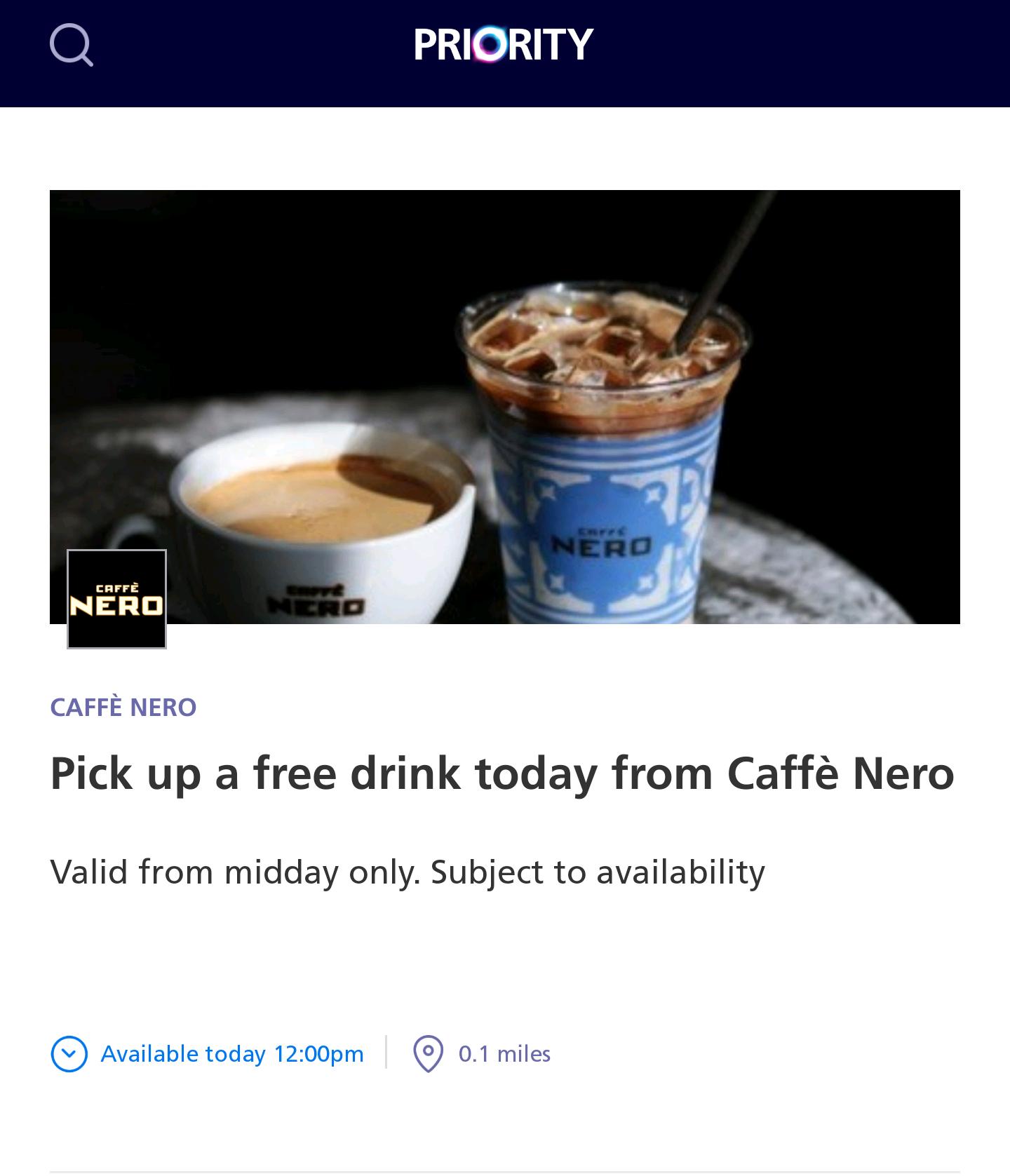 Free drink from Caffe Nero via O2 Priority