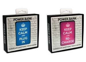 JACK & CABLES Keep Calm and Plug In (Blue) / and ReCharge (Pink) 5000 mAh Portable Power Banks only £1.97 @ Currys