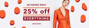 Miss Selfridge 25% off everything PLUS EXTRA 25% off via Newsletter & Free Delivery