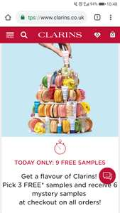 9 Free Samples with ANY Purchase Today Only from clarins.co.uk