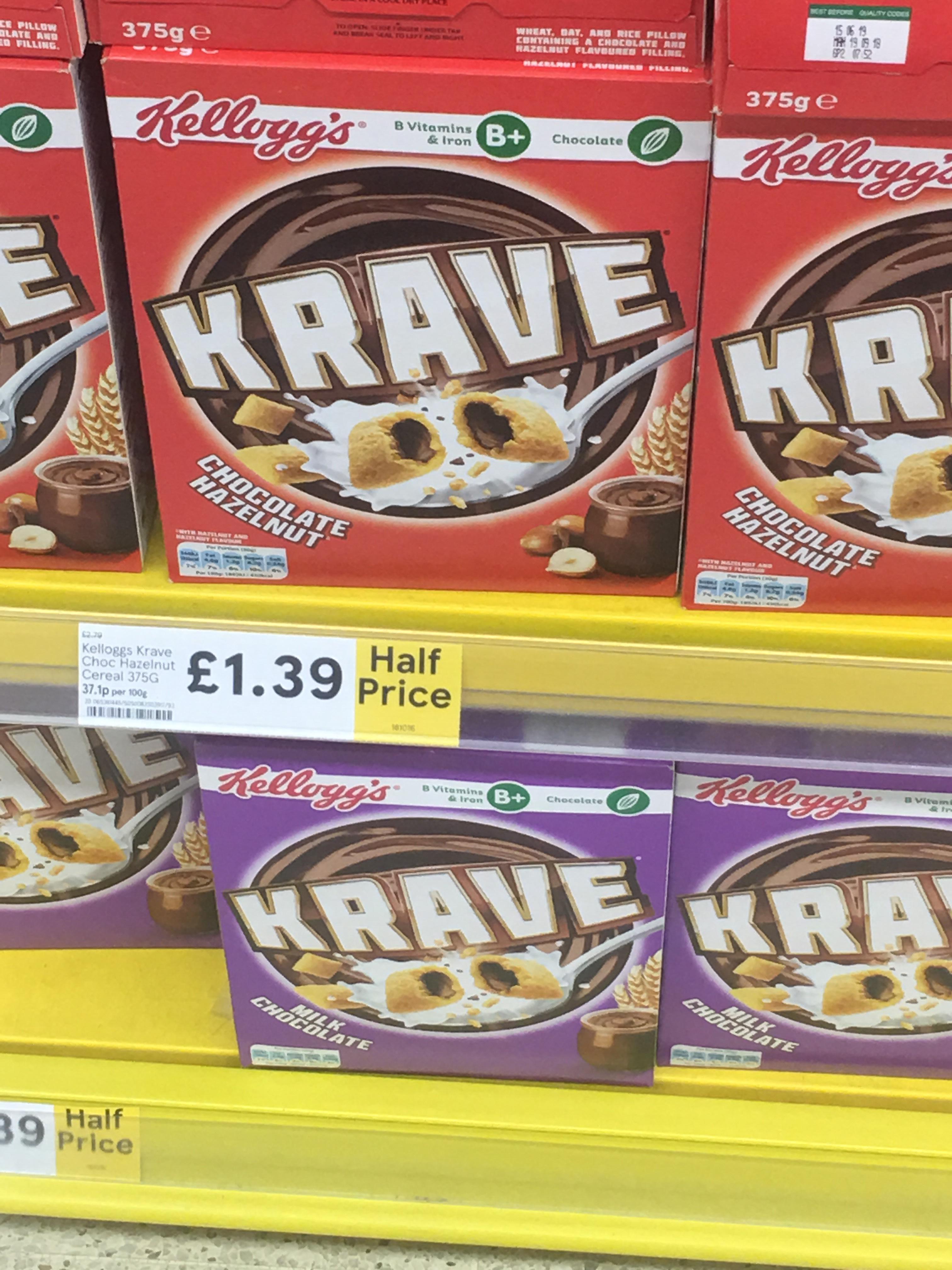 Kellogg's Krave cereal 375g £1.39 Tesco