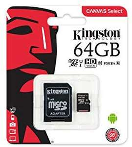 Kingston SDCS/64GB Canvas Select 64 GB microSD Card With SD Adapter Class10 UHS-I U1 Speeds, for £9.49, at Amazon
