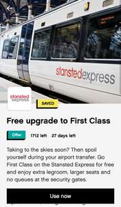 Free Upgrade to first class on Stansted Express @ Wuntu