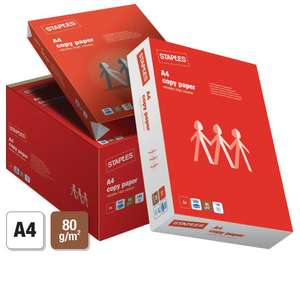 60 x 500 (12 boxes) A4 Paper Reams for £1.90 each OR 30 x 500 (6 boxes) A4 Paper Reams for £2.03 - Next Day FREE delivery @ Staples
