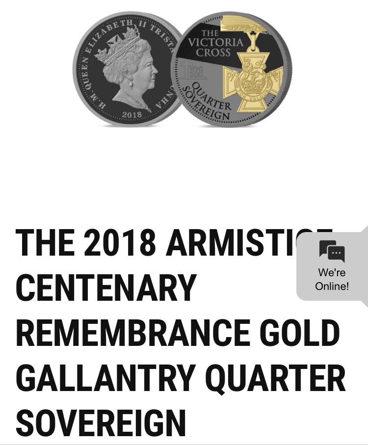 2018 armistice remembrance Quarter Sovereign £95 & £5 postage @ hattons of London