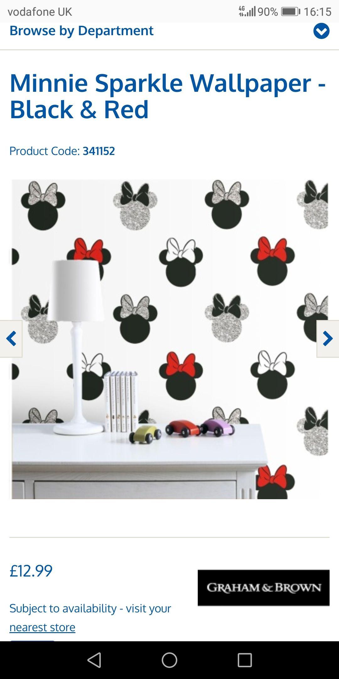 Minnie sparkle wallpaper @ b&m - £12.99