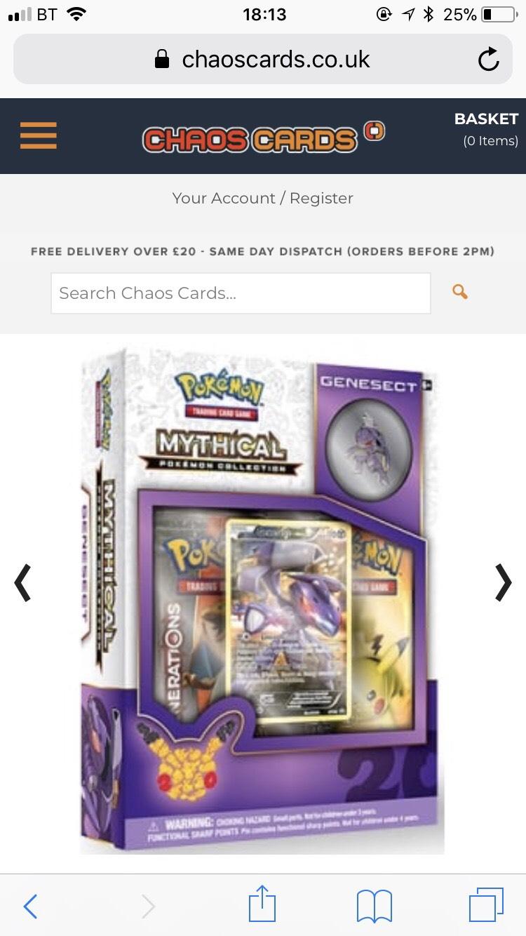 Chaos cards Pokemon box set. - £8.95 @ Chaos Cards