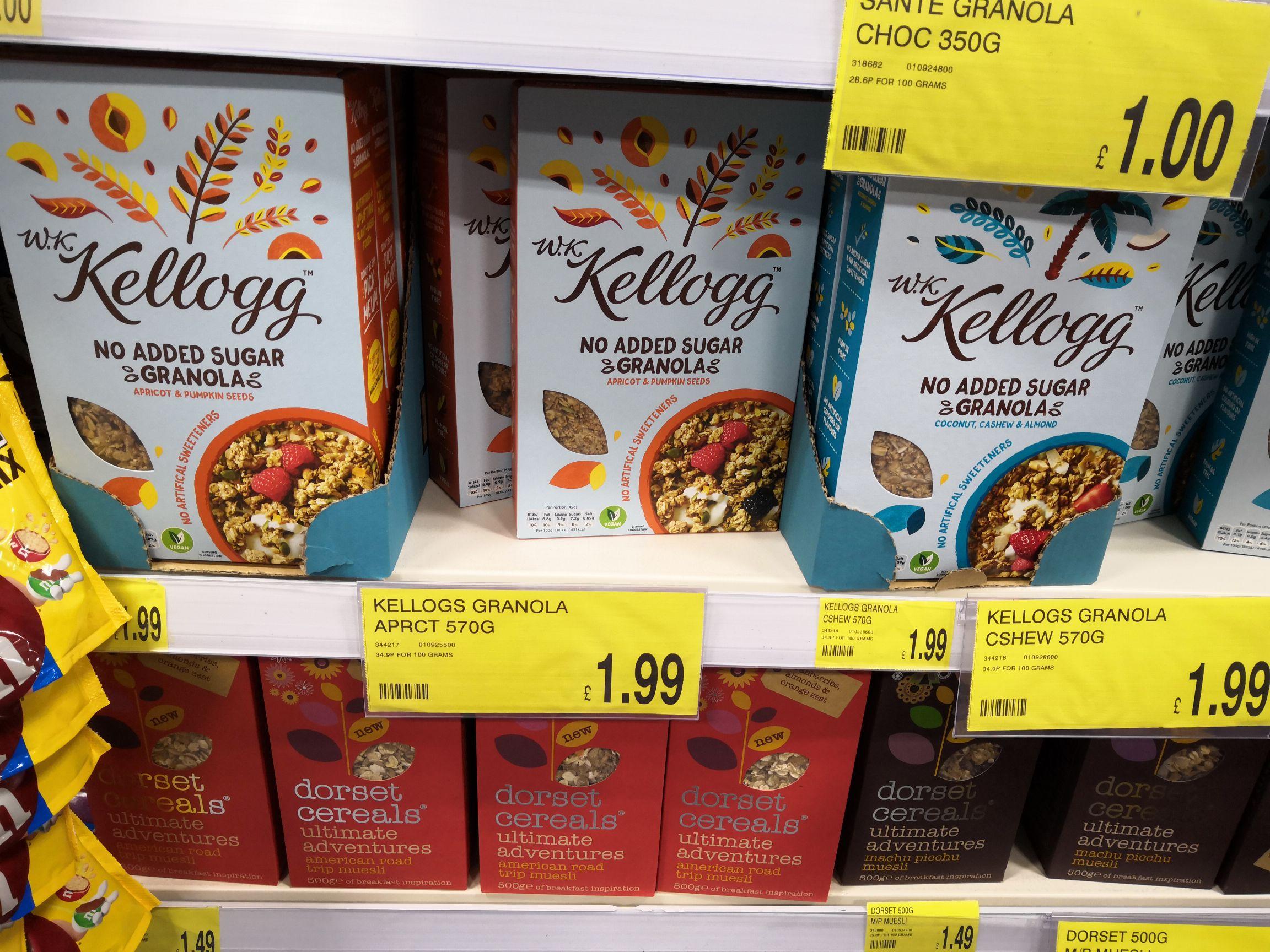 Kelloggs no added sugar granola 570g ( 2 varieties) @ b&m Bromborough / wirral