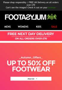 Foot Asylum Autumn offer up to 50% off Trainers