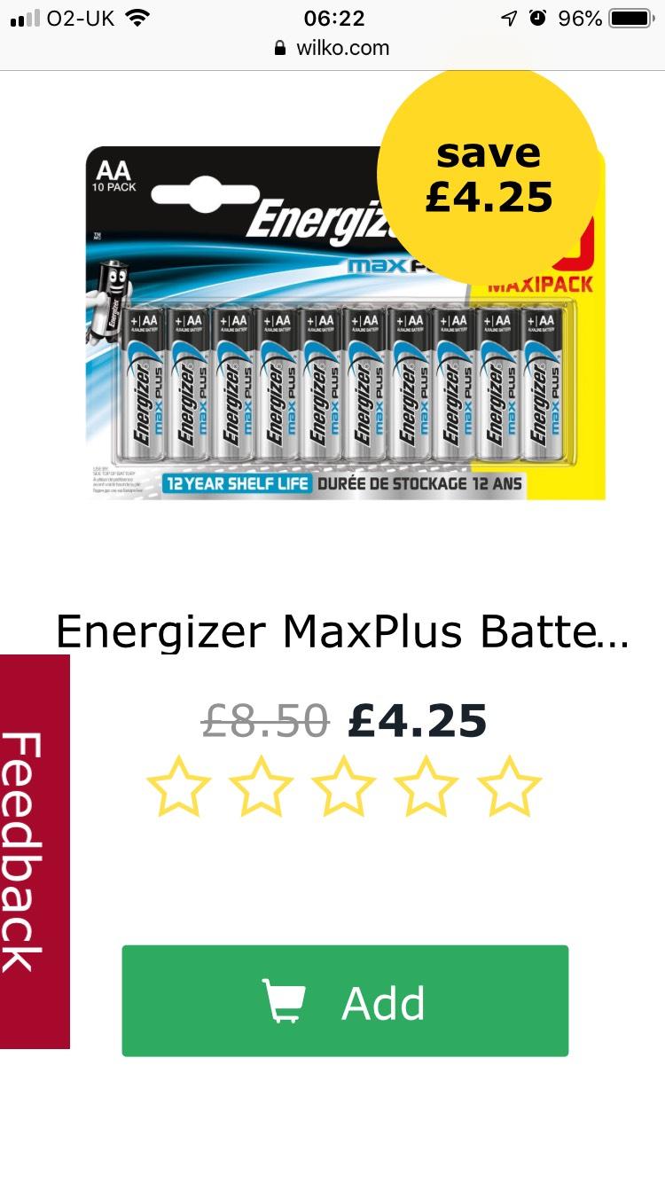 Energizer Maxplus 10pk batteries half price £4.25 Wilko - free c&c