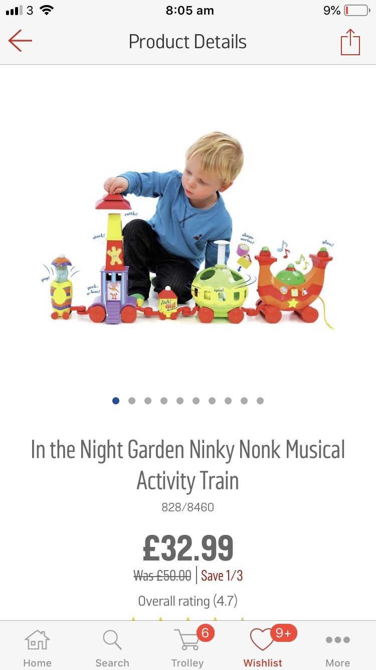 In the Night Garden Ninky Nonk Musical Activity Train £32.99 Was £50 Argos