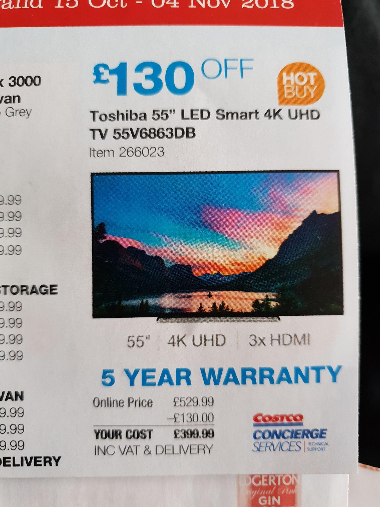 Toshiba 55V6863DB 55 Inch 4K Ultra HD Smart TV £399.99  Costco