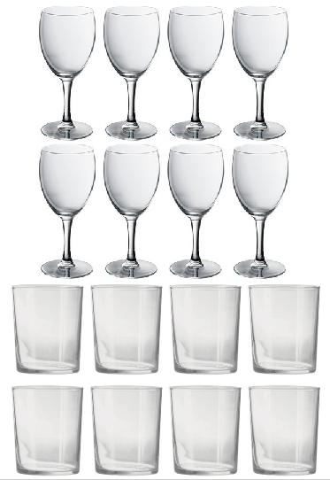 8 X Sturdy 300ml Tumblers W/ 8 X Elegant 240ml Wine Glasses £11.99 @ Argos Clearance (Free C&C)