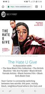 Free tickets for The Hate U Give at various locations, Sunday 21st October
