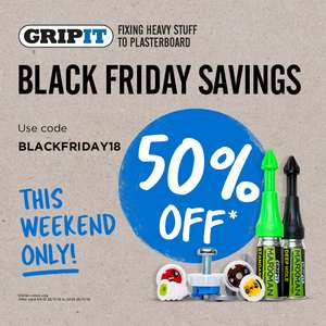 Black Friday - Gripit Fixings 50% off ALL items w/code e.g. Gripit 15mm Yellow Plasterboard Fixings 100pk Trade Tub £23.49 Delivered