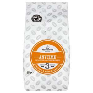 Morrisions Anytime  whole roasted coffee beans 227g 64p (Blackburn)