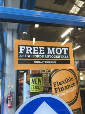 Free MOT at Halford Autocentres with any purchase