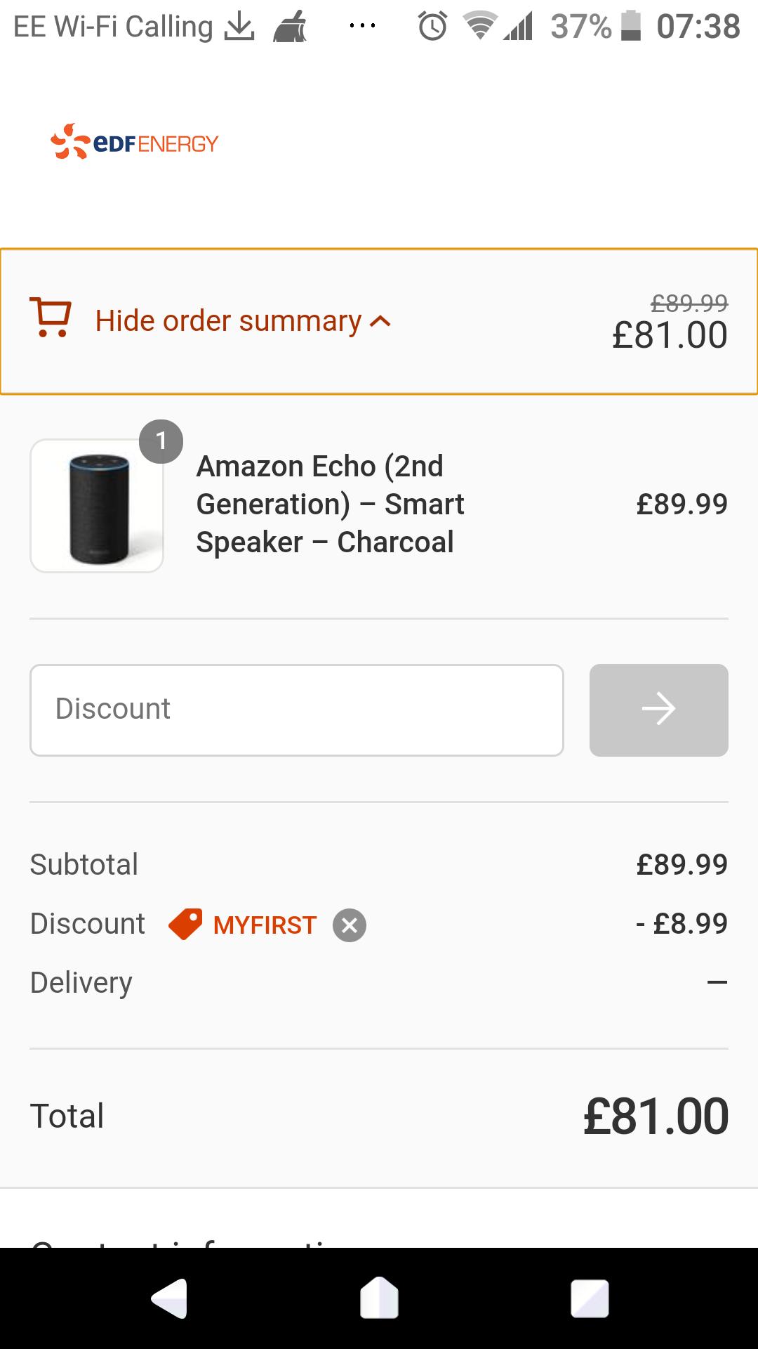 Amazon Echo £81 with 10% off EDF