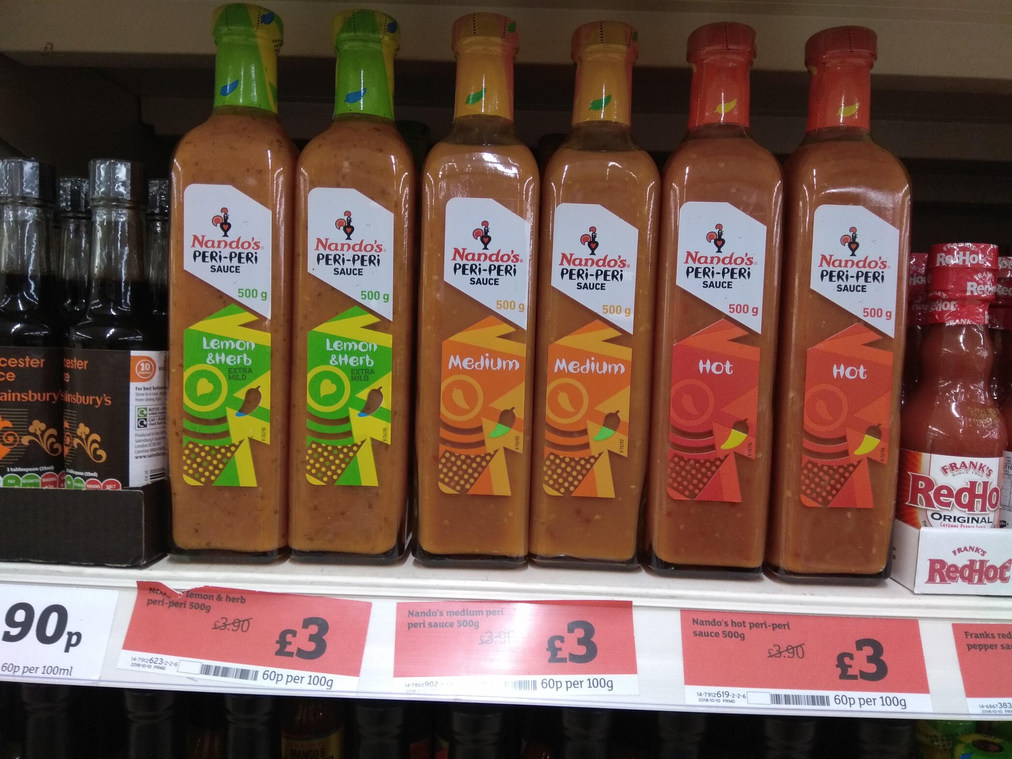 Nando's 500g sauces at Sainsbury's £3