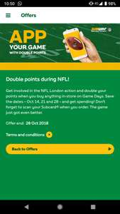 Double points on NFL London Game Days + free 500 points (for 3 week in a row purchase - one purchase per week) @ Subway - requires Subcard