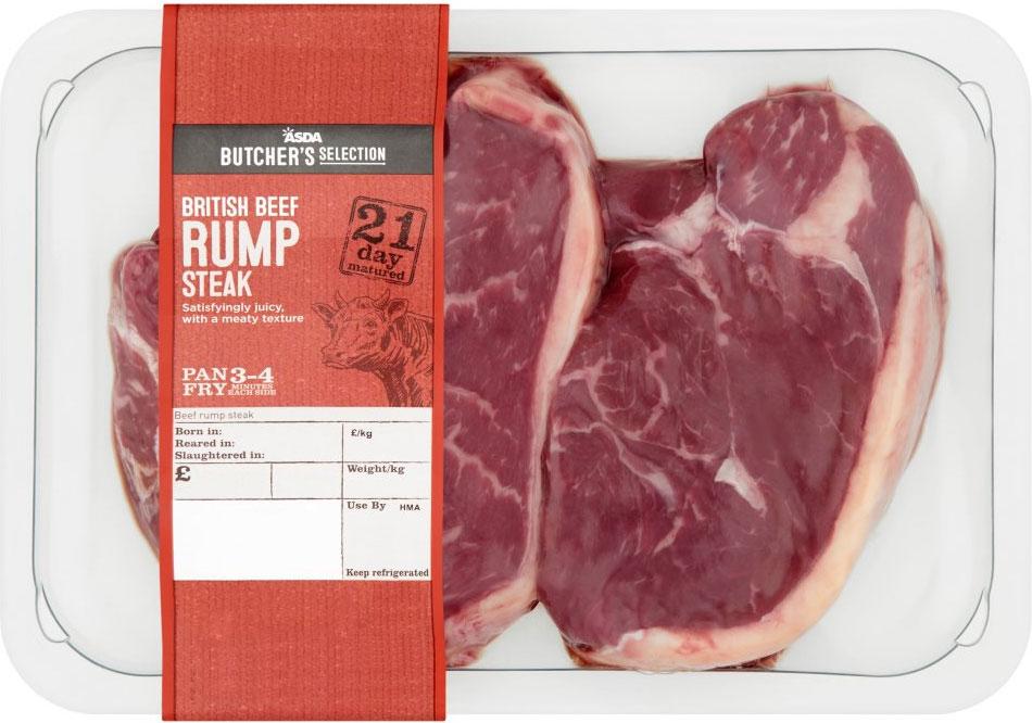 21 day rump steak 475g CHEAPER than deal than Aldi per kg - £5 @ ASDA