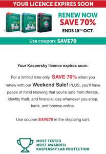 Kaspersky upto 70% off stacks with current sale