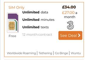 Three 12m UNLIMITED (hotspot)data/min/txts sim now £27pm (£324) Quidco/TCB £70