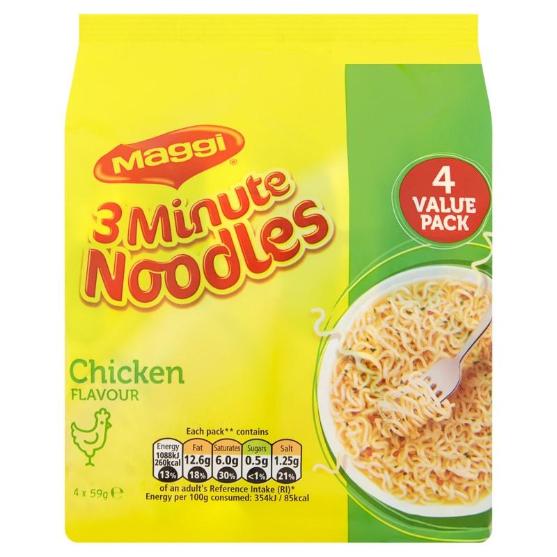 Maggi 3 Minute Noddles BBQ Beef/Chicken/Curry Flavours 4 x 59g @ B&M