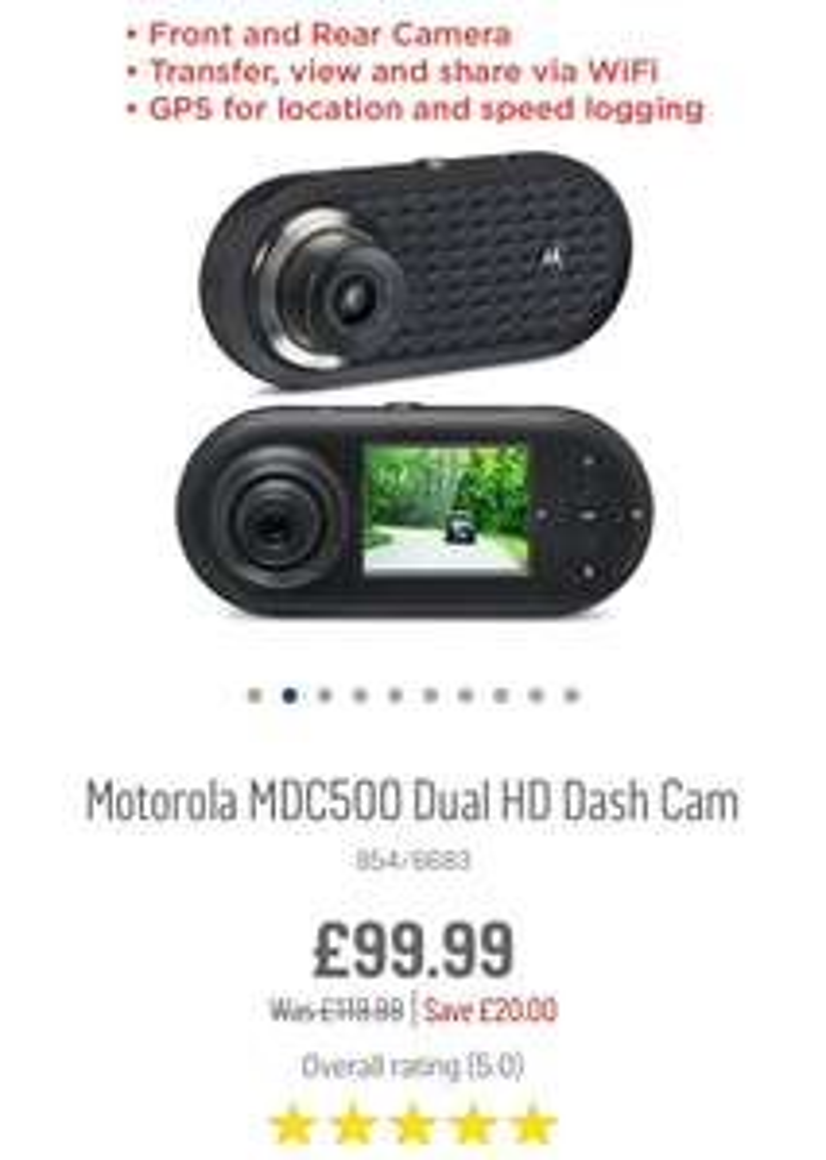 Motorola MDC500 WiFi Dash Camera  £99.99 @ Argos