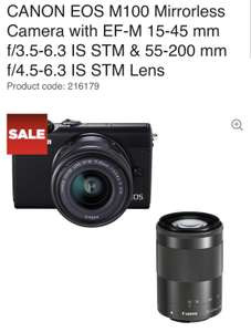 Canon M100 with 15-45 and 50-200 EF-M Lenses £399 @ Currys