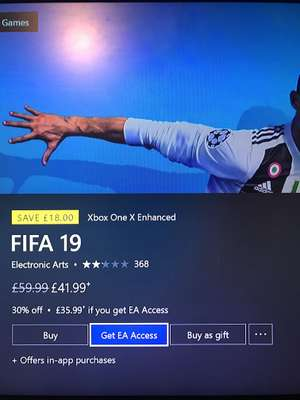FIFA 19 for only £35.99 when you have Fifa 18 and EA Access
