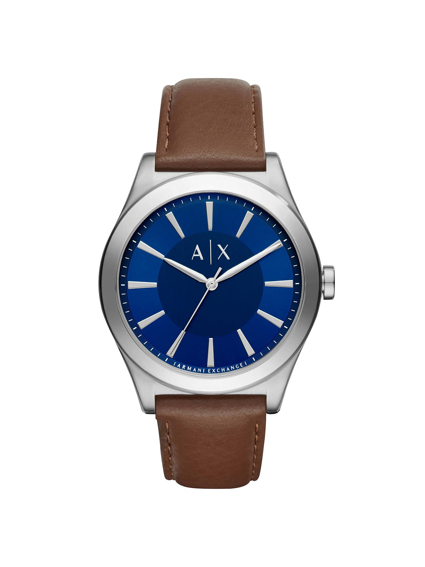 Armani Exchange AX2324 Men's Leather Strap Watch, Dark Brown/Blue £57.50 @ John Lewis & Partners