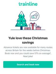 The Trainline upto 51% tickets savings when you book in advance