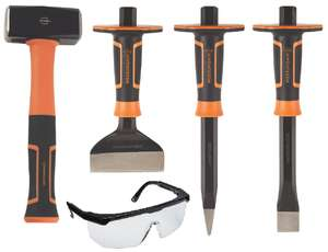 3 Piece Magnusson Bolster & Cold Chisel Set W/ Lifetime Guarantee + 1KG Club Hammer & F Rated Safety Specs £25.51 W/ Code @ B&Q (Free C&C)