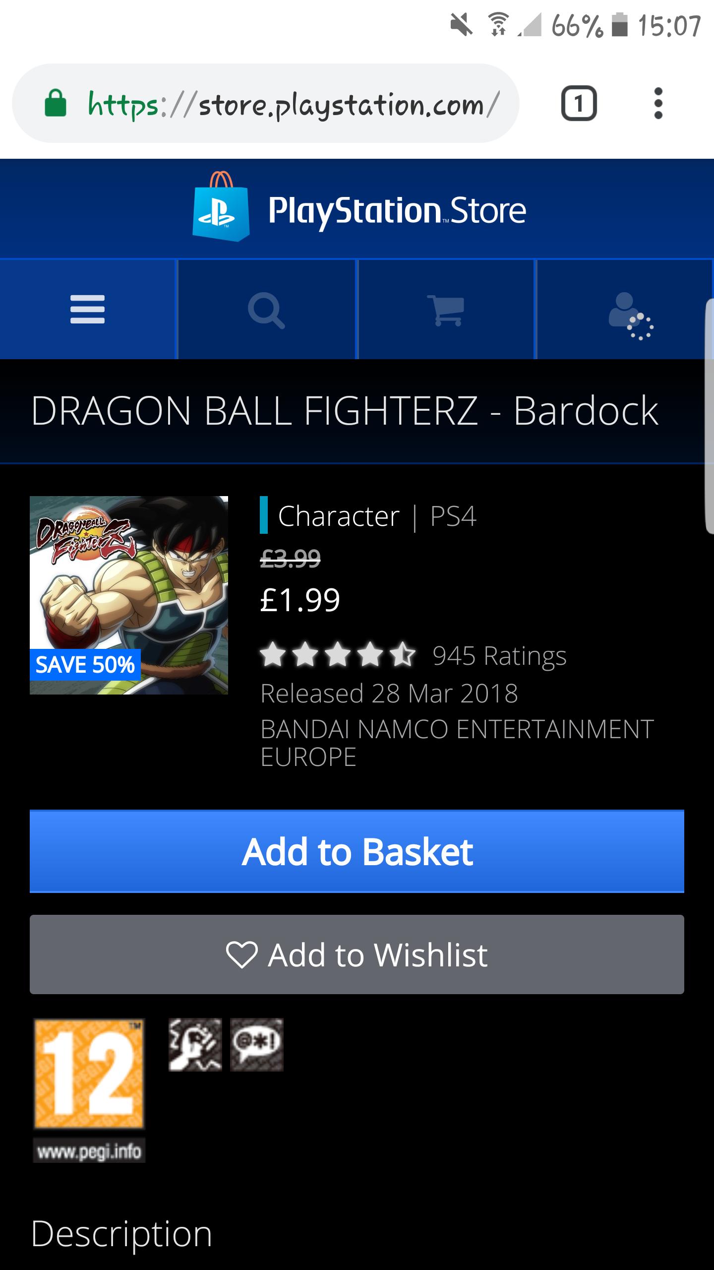 Dragon Ball FighterZ DLC Half Price Selected Characters (Broly, Bardock, Vegito and Zamasu) £1.99 @ PSN