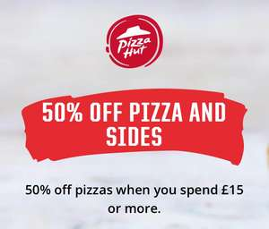 50% off £15 spend at Pizza Hut Delivery only