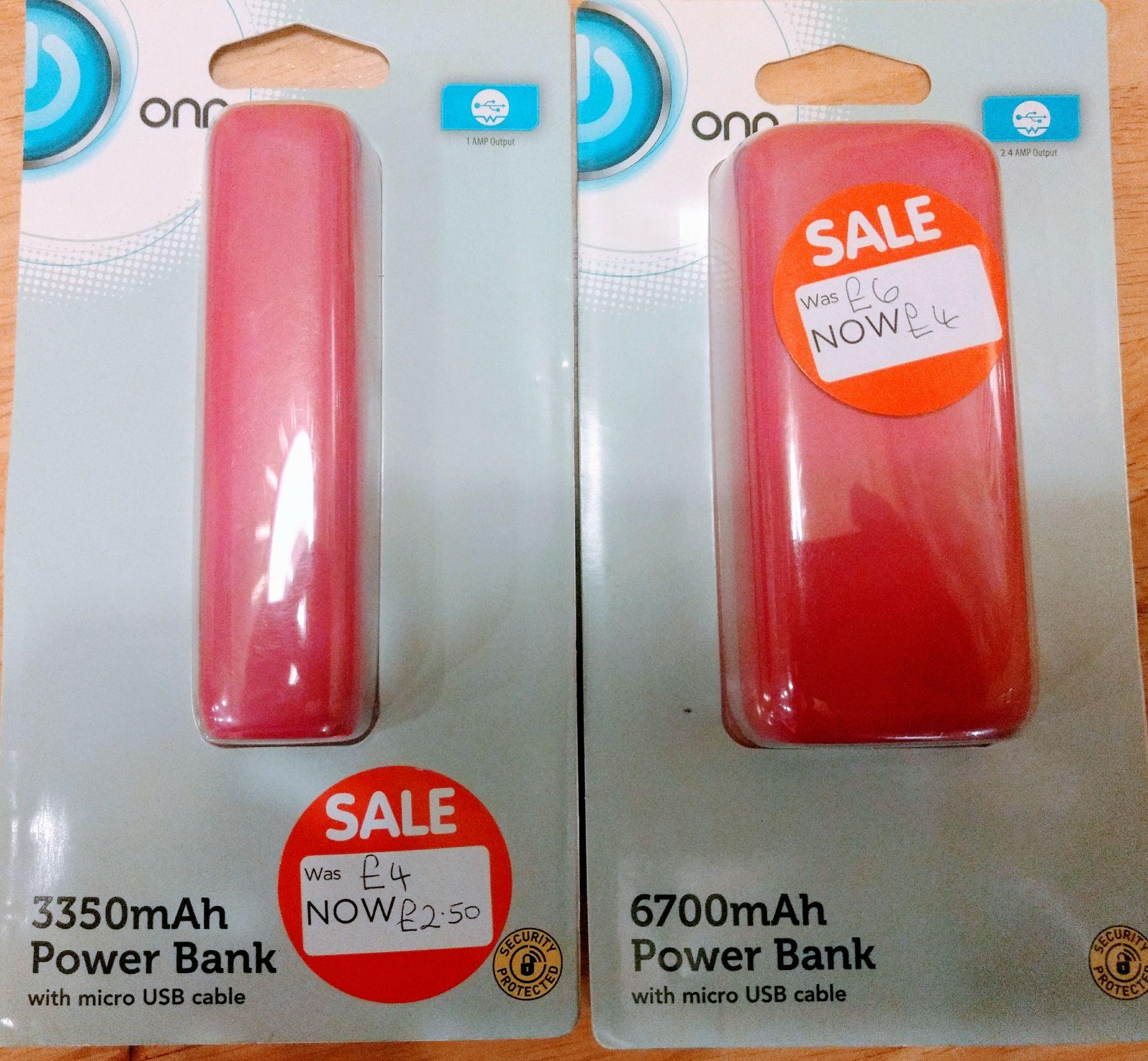 Clearance Asda pink Onn powerbanks instore. 3350mah £2.50 6700 mah £4